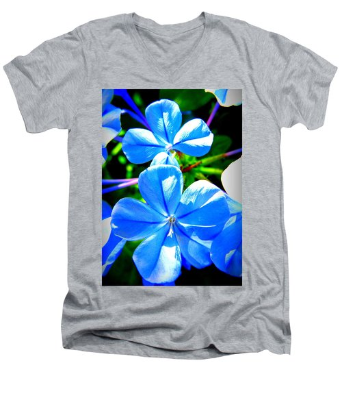 Men's V-Neck T-Shirt featuring the photograph Blue Flower by David Mckinney