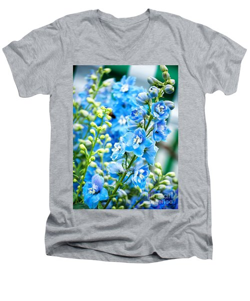 Blue Flowers Men's V-Neck T-Shirt