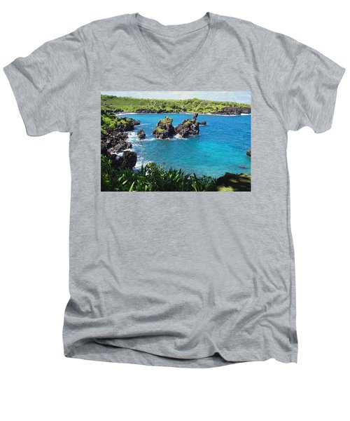 Blue Hawaiian Lagoon Near Blacksand Beach On Maui Men's V-Neck T-Shirt by Amy McDaniel