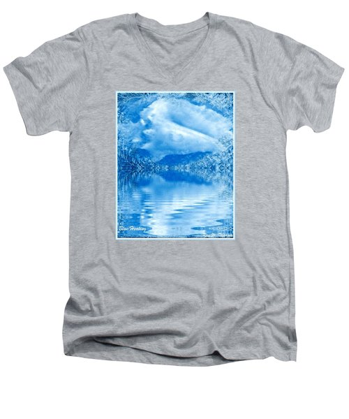 Men's V-Neck T-Shirt featuring the mixed media Blue Healing by Ray Tapajna