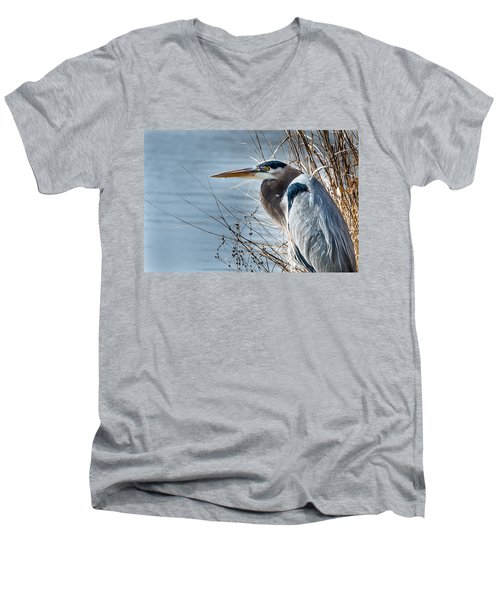Blue Heron At Pond Men's V-Neck T-Shirt