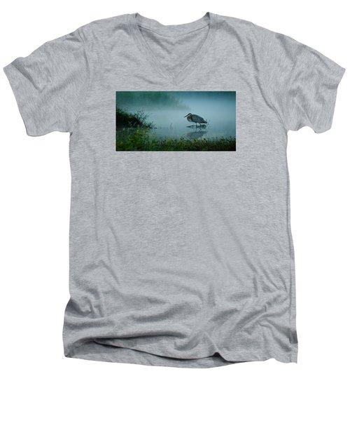 Men's V-Neck T-Shirt featuring the photograph Blue Heron Morning by Deborah Smith