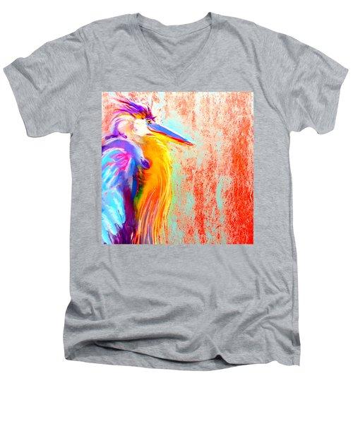 Funky Blue Heron Bird Men's V-Neck T-Shirt