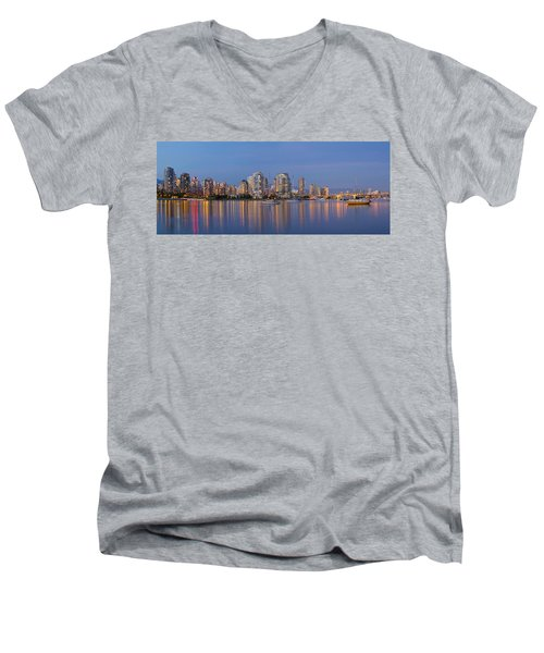 Men's V-Neck T-Shirt featuring the photograph Blue Hour At False Creek Vancouver Bc Canada by JPLDesigns