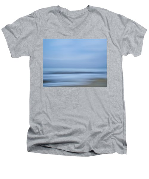 Blue Hour Beach Abstract Men's V-Neck T-Shirt by Linda Villers