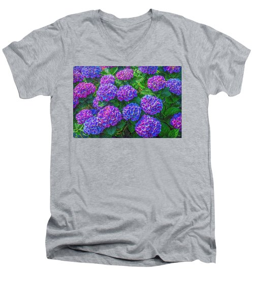 Men's V-Neck T-Shirt featuring the photograph Blue Hydrangea by Hanny Heim