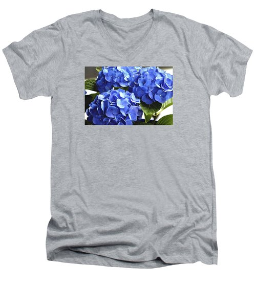 Men's V-Neck T-Shirt featuring the photograph Blue Hydrangea by Lehua Pekelo-Stearns