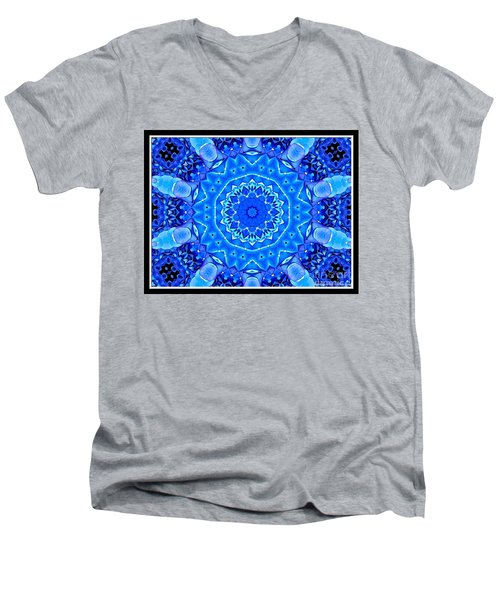 Men's V-Neck T-Shirt featuring the photograph Blue Hydrangeas Flower Kaleidoscope by Rose Santuci-Sofranko