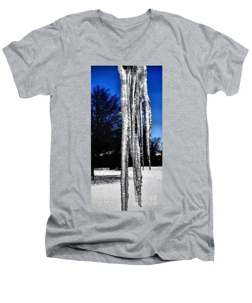 Men's V-Neck T-Shirt featuring the photograph Blue Ice by Luther Fine Art