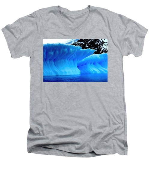 Men's V-Neck T-Shirt featuring the photograph Blue Iceberg by Amanda Stadther