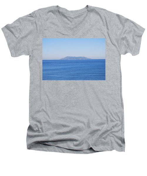 Men's V-Neck T-Shirt featuring the photograph Blue Ionian Sea by George Katechis