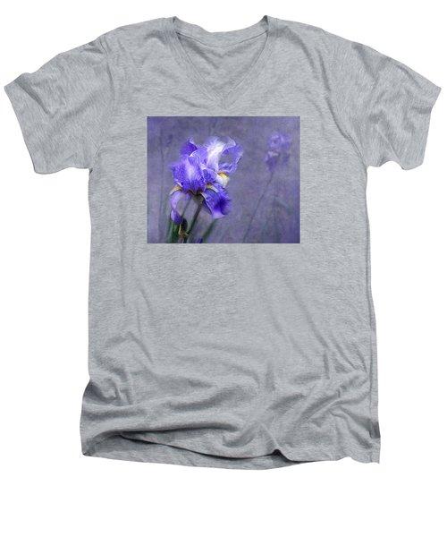 Blue Iris Men's V-Neck T-Shirt by Lena Auxier