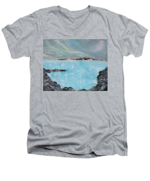 Blue Lagoon Iceland Men's V-Neck T-Shirt by Judith Rhue