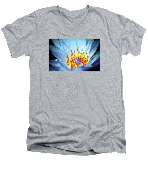 Blue Lotus Men's V-Neck T-Shirt by Cynthia Guinn