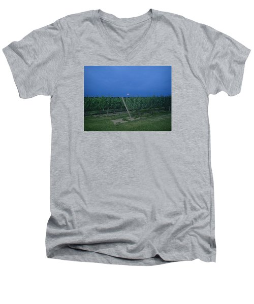 Men's V-Neck T-Shirt featuring the photograph Blue Moon by Robert Nickologianis