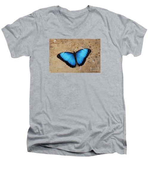 Blue Morpho #2 Men's V-Neck T-Shirt by Judy Whitton