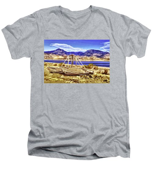 Men's V-Neck T-Shirt featuring the painting Blue by Muhie Kanawati