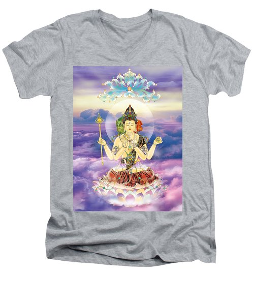 Blue-neck Kuan Yin Men's V-Neck T-Shirt by Lanjee Chee