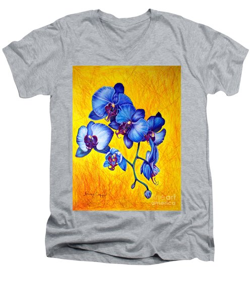 Blue Orchids 1 Men's V-Neck T-Shirt