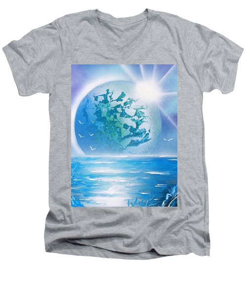 Blue Moon Men's V-Neck T-Shirt by Greg Moores