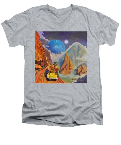 Men's V-Neck T-Shirt featuring the painting Cliff House by Art James West