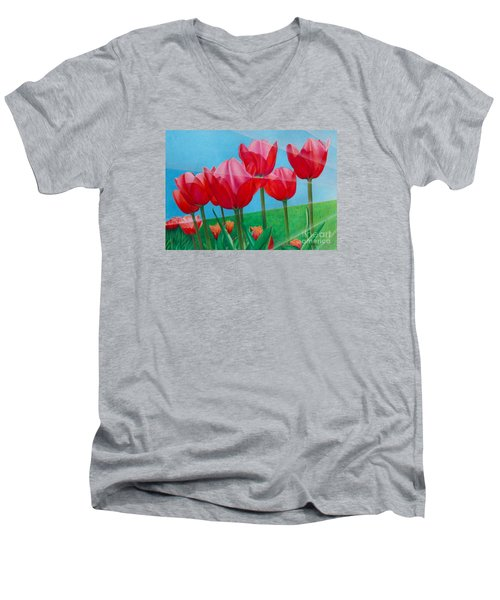 Men's V-Neck T-Shirt featuring the painting Blue Ray Tulips by Pamela Clements