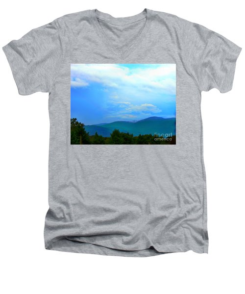 Men's V-Neck T-Shirt featuring the photograph Blue Ridge Mountains by Judy Palkimas