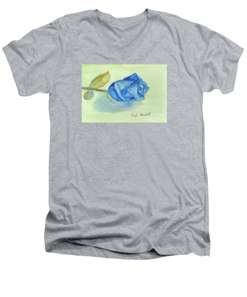Blue Rose Men's V-Neck T-Shirt by Pamela  Meredith