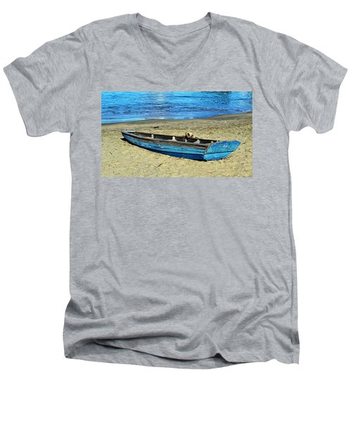 Blue Rowboat Men's V-Neck T-Shirt by Holly Blunkall