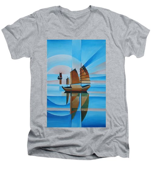 Men's V-Neck T-Shirt featuring the painting Blue Skies And Cerulean Seas by Tracey Harrington-Simpson