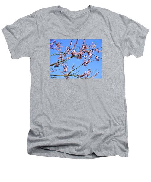 Blue Sky And Pink Blossom. Men's V-Neck T-Shirt