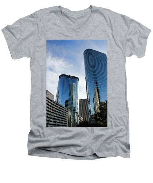 Blue Skyscrapers Men's V-Neck T-Shirt by Judy Vincent