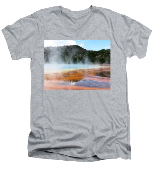 Men's V-Neck T-Shirt featuring the photograph Blue Steam by Laurel Powell