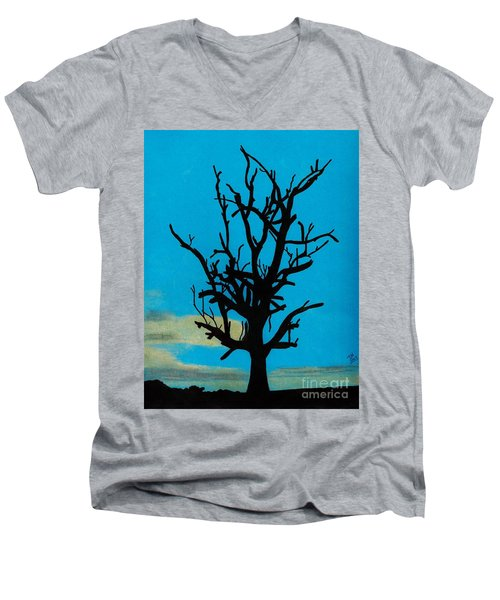 Men's V-Neck T-Shirt featuring the drawing Blue Sunset by D Hackett