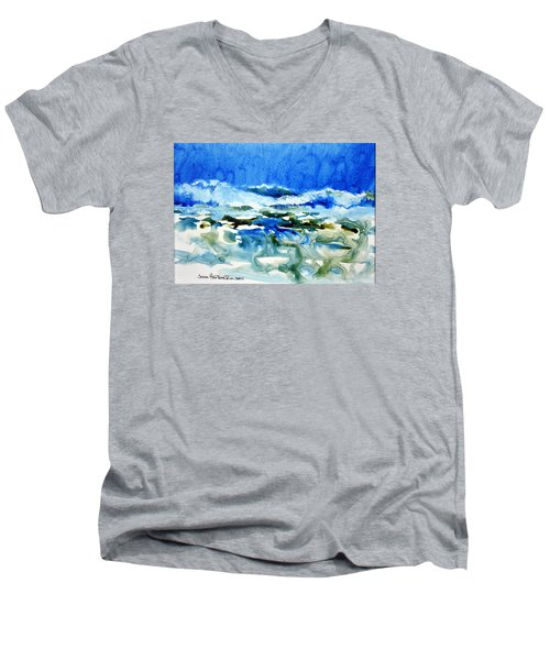 Men's V-Neck T-Shirt featuring the painting Blue Surf by Joan Hartenstein