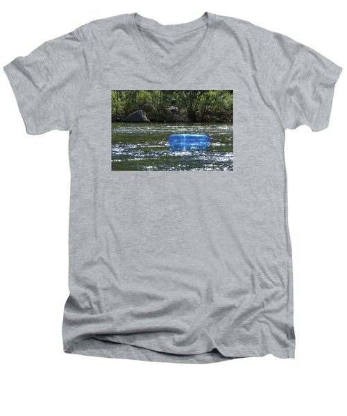 Men's V-Neck T-Shirt featuring the photograph Blue Floaty - Inner Tube On The River by Jane Eleanor Nicholas