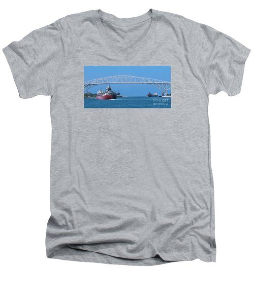 Blue Water Bridge And Freighters Men's V-Neck T-Shirt by Ann Horn