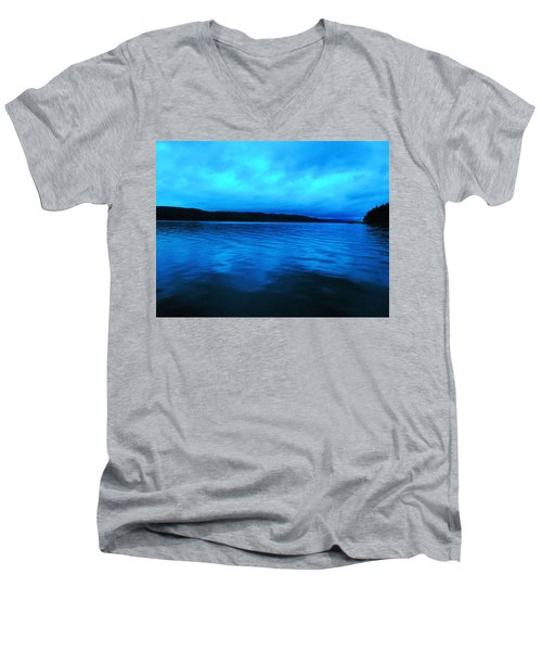 Blue Water In The Morn  Men's V-Neck T-Shirt by Jeff Swan