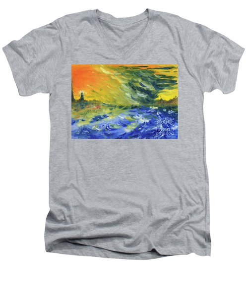 Blue Waves Men's V-Neck T-Shirt by Teresa White