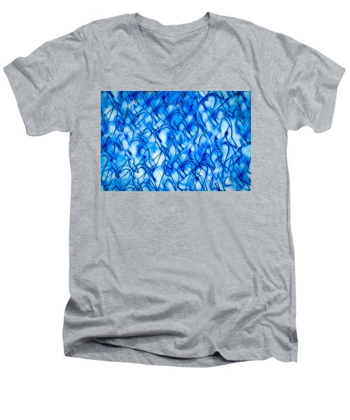 Blue Wispy Men's V-Neck T-Shirt