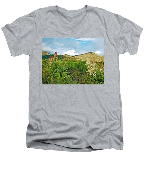 Blue Yucca And Chisos Mountains In Big Bend National Park-texas Men's V-Neck T-Shirt