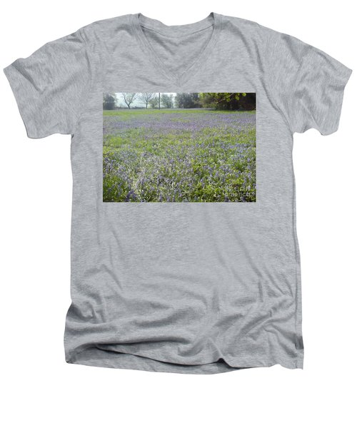 Men's V-Neck T-Shirt featuring the photograph Bluebell Fields by John Williams