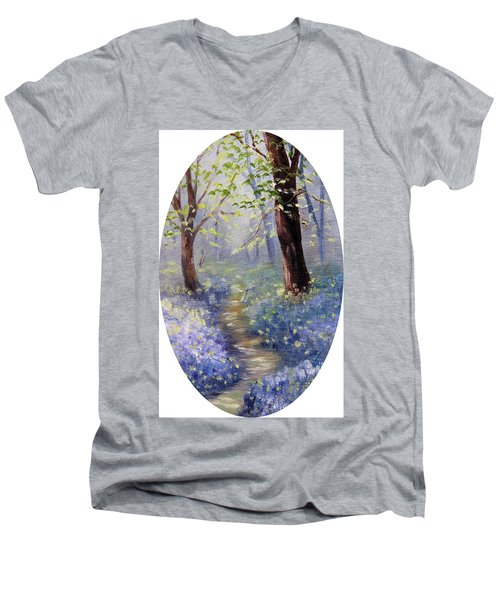 Bluebell Wood Men's V-Neck T-Shirt by Meaghan Troup