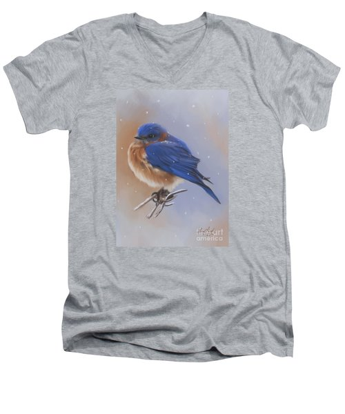 Bluebird In The Snow Men's V-Neck T-Shirt by Lena Auxier