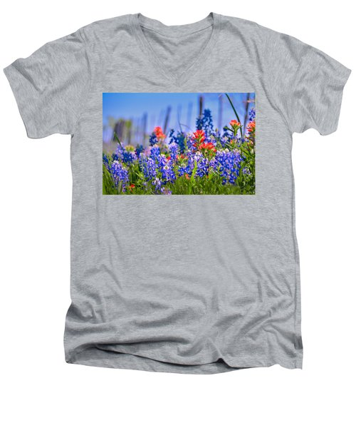 Men's V-Neck T-Shirt featuring the photograph Bluebonnet Paintbrush Texas  - Wildflowers Landscape Flowers Fence  by Jon Holiday