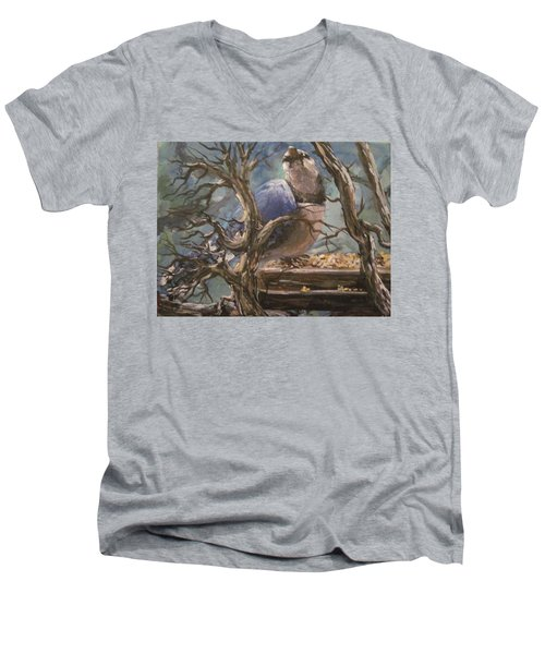 Men's V-Neck T-Shirt featuring the painting Bluejay by Megan Walsh