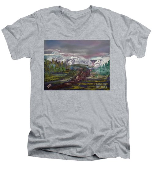 Men's V-Neck T-Shirt featuring the painting Blurred Mountain by Jan Dappen