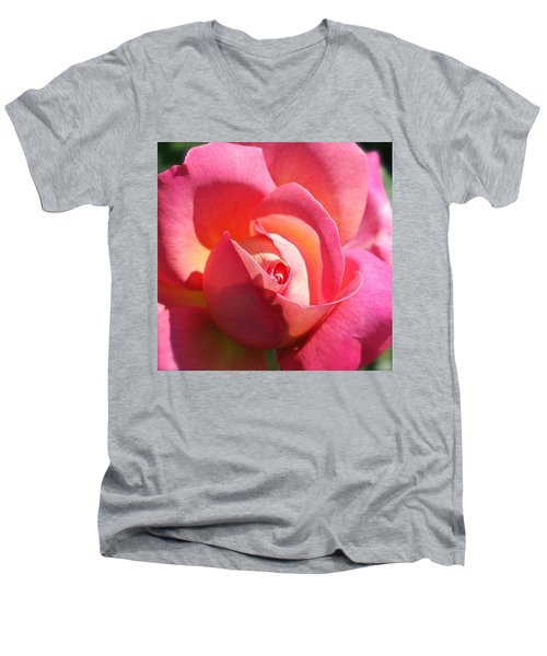 Blushing Rose Men's V-Neck T-Shirt by Michele Myers