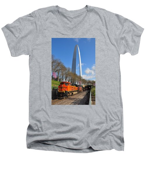 Bnsf Ore Train And St. Louis Gateway Arch Men's V-Neck T-Shirt