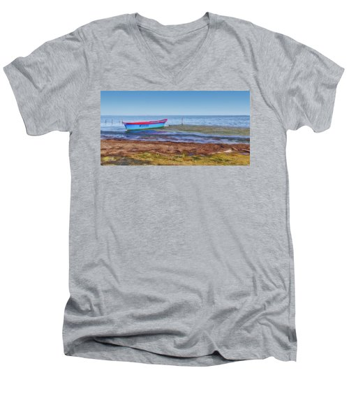 Boat At The Pond Men's V-Neck T-Shirt